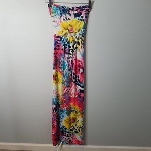 Strapless Tropical Maxi dress with belt Small 4